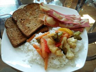 Almond crusted whole wheat toast, Veggie Bacon, veggie stir fry